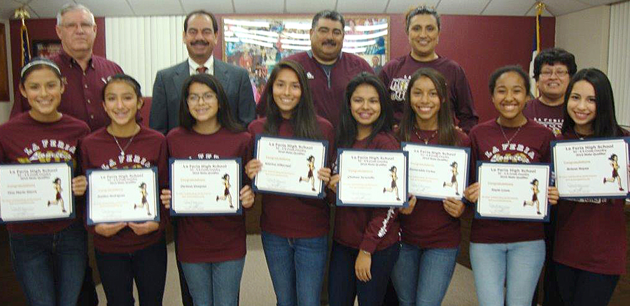 Superintendent Rey Villarreal and the La Feria ISD School Board recognize LFHS Girls' Cross Country Team that qualified for All-state Cross