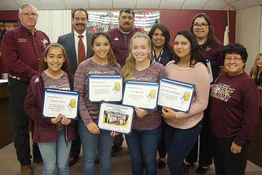 Superintendent Rey Villarreal and the La Feria ISD School Board recognize  our La Feria High School Girls' Volleyball District Champions.