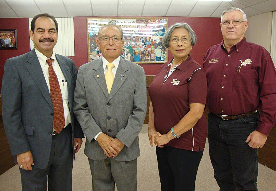 Superintendent Rey Villarreal stands with outgoing Board Members (l-r) Lalo Sosa, Gloria Santillan Casas and Alan Moore at the latest Board Meeting on Monday, Nov. 14th. The newly elected board members were sworn in at a special meeting on Thursday, November 17th.