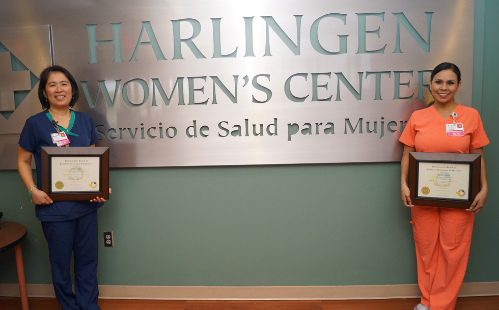 """Two board-certified breastfeeding educators at Harlingen Medical Center, Jenny Diaz, RNC, IBCLC, left; and Priscilla Claudio, RN, IBCLC, have helped the hospital to be designated as a """"Texas Ten Step"""" program in the effort to promote breastfeeding as the preferred nutrition for newborn babies."""