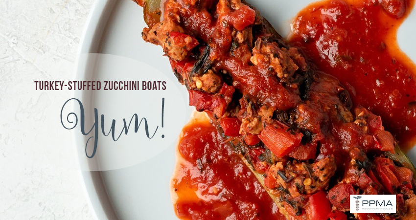 turkey-stuffed zucchini boats, italian flavors, healthy recipes, nutritionist, dietitian, Private Physicians Medical Associates, PPMA. Primary Care Doctors, Newport Beach, OC, CA, Southern California, SoCal