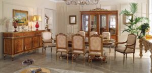 "Royal Dining and Buffet   4 Door vitrene 94.4 x 19.6 x 93.7   3 Door vitrine 74.8 x 19.6 x 86.61 / 7.08 decoration height  2 Door vitrine 52.36 x 19.6 x 86.61/ 7.08 decoration height    Credenza       92.91 x 22.04 x 42.51    Dining table 98.4""+19.7""+19.7""X51.1""X32.2""   Side chair 21.65 x 23.22 x 43.30   Arm chair  25.98 x 24.40 x 43.30"