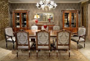 """Royal Dining  4 Door vitrene 94.4 x 19.6 x 93.7   3 Door vitrine 74.8 x 19.6 x 86.61 / 7.08 decoration height  2 Door vitrine 52.36 x 19.6 x 86.61/ 7.08 decoration height    Credenza       92.91 x 22.04 x 42.51    Dining table 98.4""""+19.7""""+19.7""""X51.1""""X32.2""""   Side chair 21.65 x 23.22 x 43.30   Arm chair  25.98 x 24.40 x 43.30"""