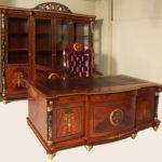 """3002 DESK SET 4Dr Bookcase 94.4""""L X 88.5""""H X 22""""D Desk(leather top)78""""L X 40""""DX 30""""H Office Chair W 26.7D31.4H48.8"""