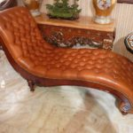 82181 Chaise 70x27x38 Genuine Leather Brown