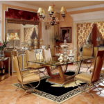 """E16-  Dining Room 71""""Wx47""""Dx31""""H(glass top) E16-Long Dining Table 94.4Wx47.2Dx30.7H(wood top) E16-Long Dining Table 70.8Wx41.3Dx30.7H (wood top) E16-Arm Chair 23.6Wx25.5Dx46.8H E16- Buffet and Mirror 84.6Wx25.1Dx89.3H E16- Dining Car 32.6Wx21Dx36.2H E16- Floor Lamp 19.2Diax71.2H"""