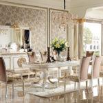 E62 Dining room 1 W  Dining Table 2 Pedestal ,98.42x47.24x30.70 Buffet , 87.00 x 22.44 x 40.94, Mirror , 70.86 x 3.93 x 43.30