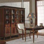 E68 study room  4 Door Bookcase 76.77 x 17.71 x 77.95 , Writing Desk  54.33 x 25.59 x 30.31 / Surround Chair ,27.55 x 27.55 x 37.79