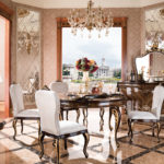 E-70-1 round dining table setRound table 59.1 x 59.1 x 30.7Buffet :70.9 x 21.7 x 38Buffet Mirror:54.9 x 1.6 x 39.8Dining Chair :23.6 x 19.3x 41.3