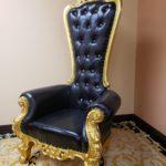 King Throne chair Black 68.14'' H x 36.5'' W x 29'' D Seat  16'' H x 20.5'' W x 22'' D