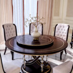 """E-71 round dining table 59.06""""W x 59.06""""D x 29.53""""H"""