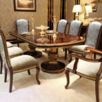 "E-63 Dining Table 49.21""W x 98.43""D x 30.32""H E-63 Dining Armchair 23.62""W x 28.74""D x 45.28""H E-63 Dining Chair  20.08""W x 26.38""D x 45.28""H"