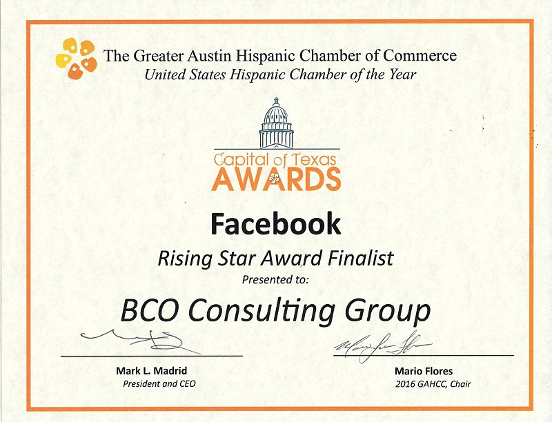 BCO Consulting Group receives recognition as one of the Facebook Rising Star Award Finalists for the year 2016