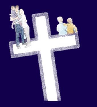 A Christian symbol showing a cross and a family who are getting counseling.