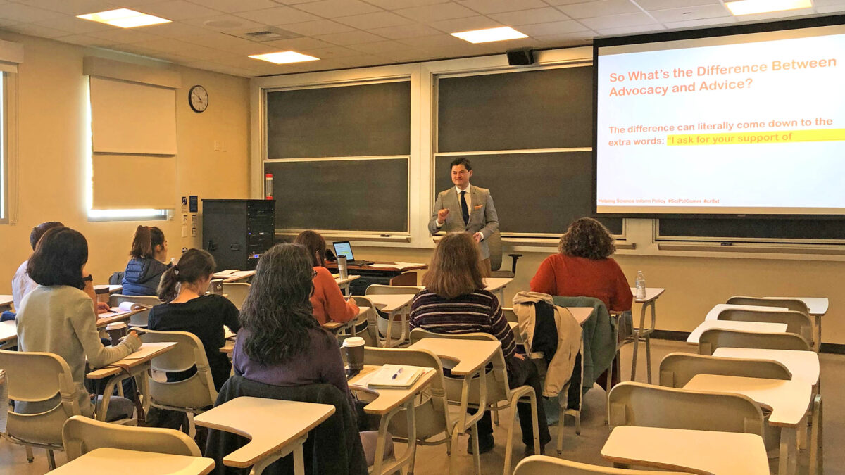 """Ben Young Landis teaches the """"Helping Science Inform Policy: Tools for Engaging State-Level Leaders"""" #SciPolComm workshop on January 11, 2020 at UC Davis, presented to members of the American Chemical Society Sacramento Local Section. (Photo by Gabby Nepomuceno)"""