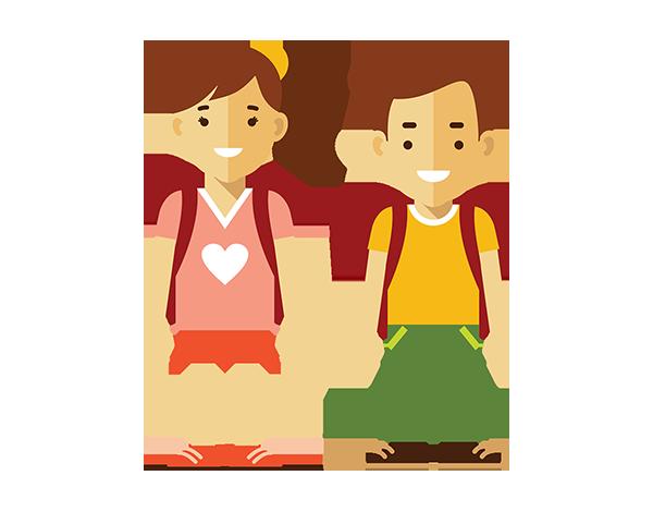 Girl and boy wearing backpacks