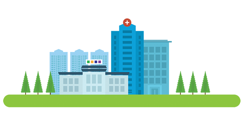 Cityscape with hospital and STAQ Pharma facility in close proximity