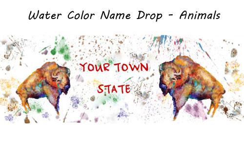 Watercolor Animals Name Drop Design