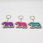 Bear Shaped Wooden Keychain With Sand