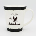 High Quality Fine Bone China White 12oz Taper Mug (Eagle Design)