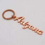 Zinc Alloy Rose Gold Name Drop Keychain