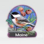 Polyresin Maine Flower & Bird Magnet