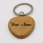 Heart Wooden Keychain