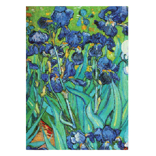 Van Gogh's irises are on the front and back of this letter-sized folder. If Impressionism taught Van Gogh to use colors less self-consciously, then Japanese prints prompted him to increase the intensity of his colors, to consciously exaggerate them. This popular and dynamic composition and its heightened violet-blue accentuate the sweep and vitality of the irises.