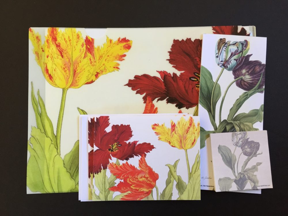 a welcome gift pack with Japanese woodblock print of the trumpet tulips on a letter-sized folder and cards, and a Dutch artist's version of his tulips on the note pad and matching sticky pad. it makes a loverly and unique gift for someone you care about.