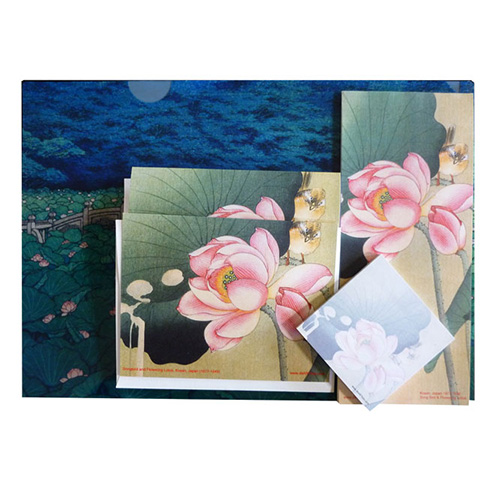 this special gift pack includes the letter-sized folder of Hasui's Benten Pond and the exquisite lotus flower woodblock print of Songbird and Lotus by another famous Japanese artist, Kosan (1877-1945), Japan