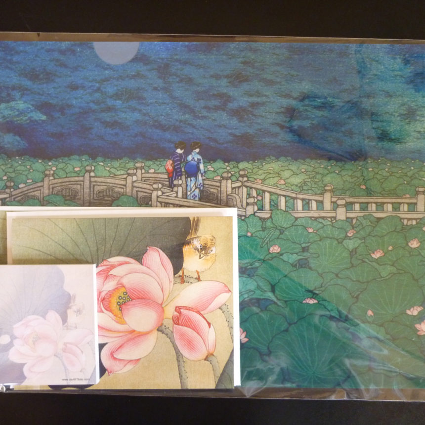 a lovely gift pack with a letter sized folder with Flowering lotus Benten Pond woodblock print by Hasui and the amazingly dear songbird and lotus from another Japanese master,Kosan. it'll be a smile to someone who receive this as a gift.