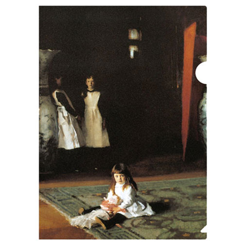 a letter-sized folder with the famous Boit family with the 3 sisters by Sargent in 1882. Sargent's best portraits reveal the personality of the sisters