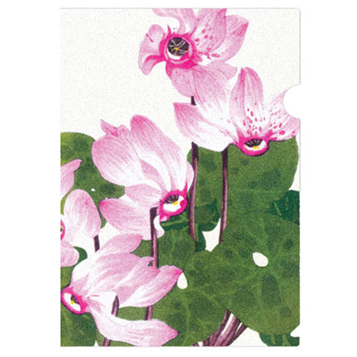a practical half-letter sized folder with the exquisite cyclamen woodblock print by Konan, a renowned artist who, in 1917, began a series of prints of lush and exotic plants (mostly western flowers such as the cyclamen)