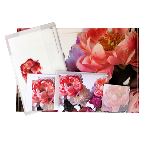 """Two Folders (Letter-sized and Half Letter-sized), 2 note cards and sticky notes.Robert S. Porter (1953 - ), M.D., Art Photography. Peonies, Photograph, 2011.Dr. Porter shoots in his home studio and around the Brandywine Valley. Not only is Dr. Porter an exceptional art photographer, he is also the Editor in Chief for the Merck Manuals, the most widely used medical reference in the world.Peonies are outrageously beautiful in bloom, with lush foliage all summer long. These perennials may thrive for 100 years. Dr. Porter captured the fullest and most scrumptious of these majestic flowers. As Emerson said """"Earth laughs in flowers."""", certainly with these peonies."""