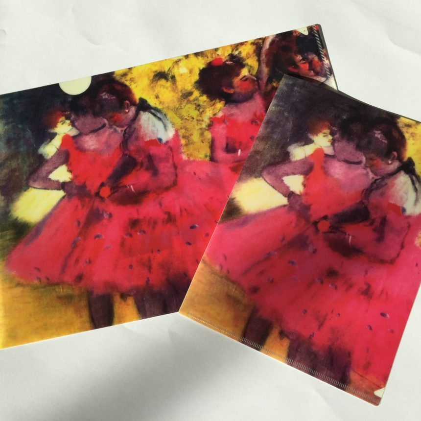 a lovely gift set including a letter-sized and half letter pocket-sized folder printed with the beloved ballerina in red by Degas