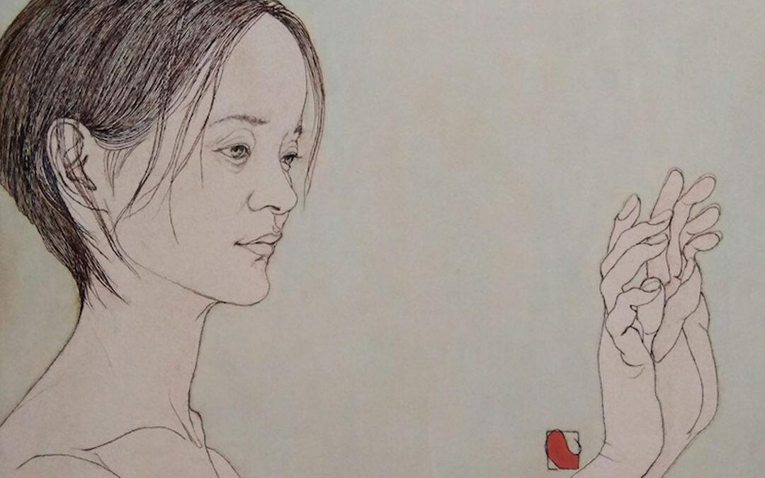 """Untitled"" by Nobuyuki Fukata, acrylic and yarn on panel, 10x16, courtesy Gallery Juichigatsu"