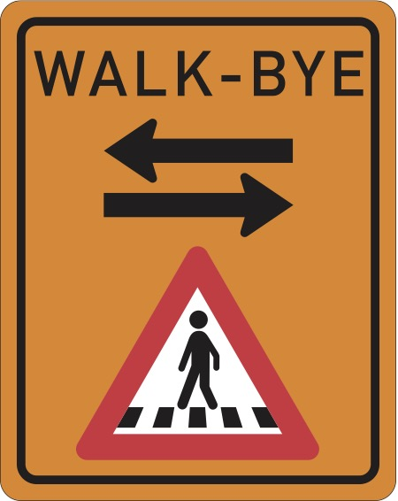 Walk-Bye logo - a riff on a pedestrian crossing sign with arrows going both ways