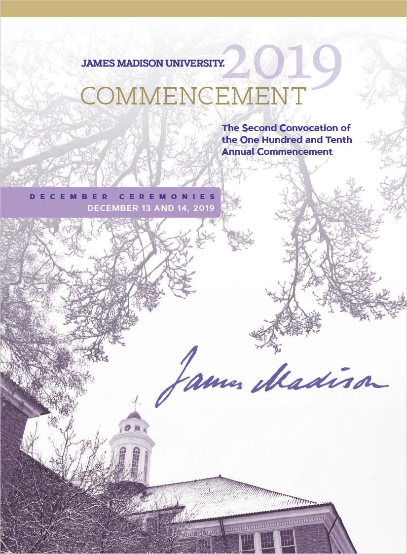 JMU December 2019 Commencement Program Cover