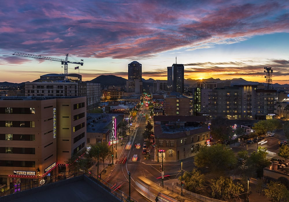A view of Tucson's beautiful sunset down Congress Street to Church Avenue. Photo courtesy Steven Meckler.