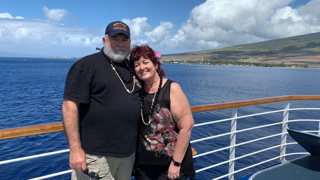 Susan and Michael Dorety are shown on a Grand Princess cruise they took in February to celebrate their 40th wedding anniversary. The retired Dallas firefighter later died alone from COVID-19 in a California hospital room after becoming infected on the ship.(Courtesy Susan Dorety)