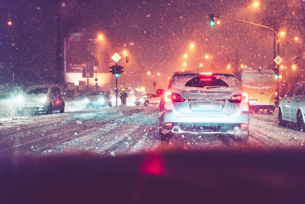 Road Safety Snow Covered Traffic