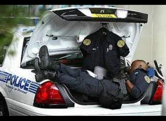 sleeping police officer