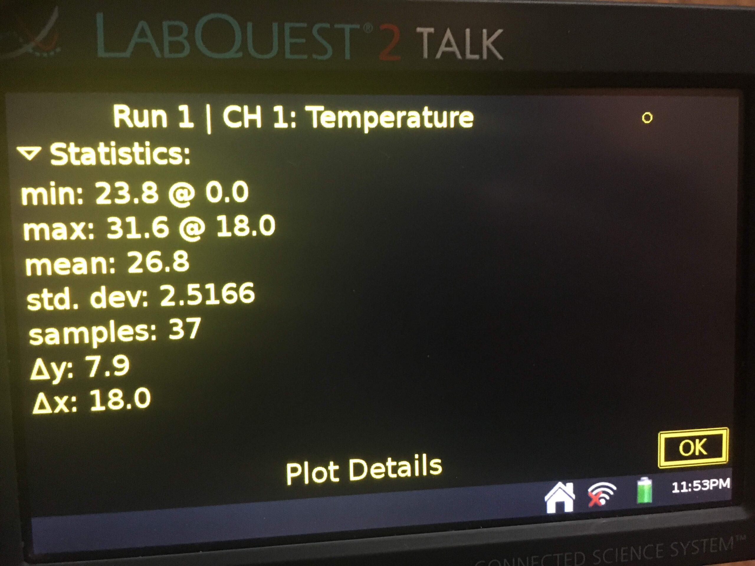 Close up of TLQ stats screen for a temperature run displayed in high contrast.
