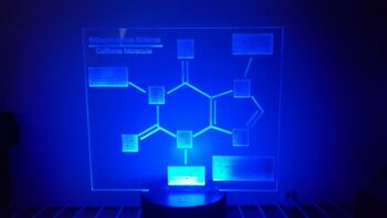 Caffeine molecule LED lamp with the color of the light set to blue