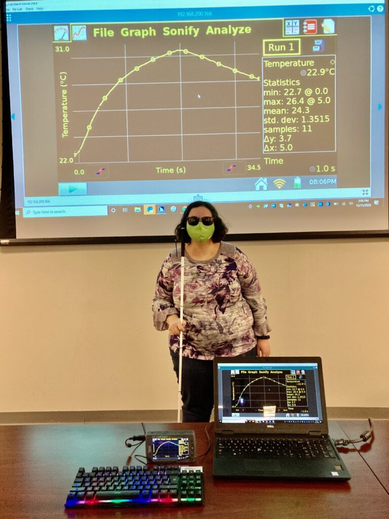 ashley neybert demonstrating Sci-Voice Talking labquest and Talking Logger pro