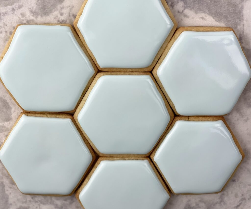 All hexagon cookies decorated