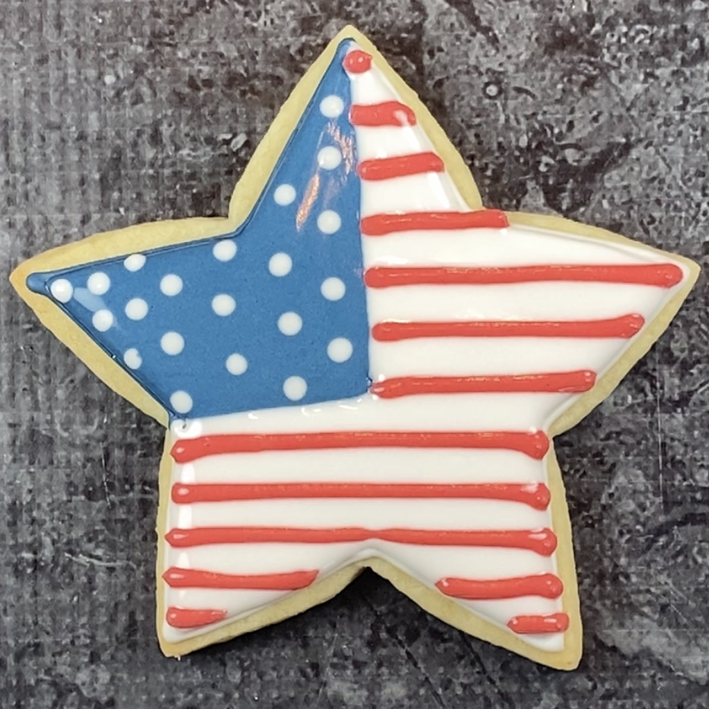 Add stripes to star flag cookie