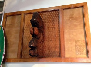 """""""James Baldwin - The Evidence of things not seen"""" 37 x 58 x 12 inches, Wood sculpture with lattice screen , 2002"""