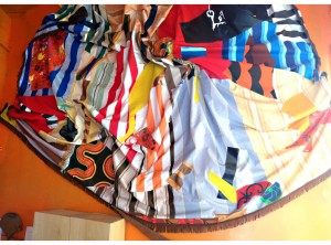 """Swinging in south of France"" 200 x 100 feet, Handmade Fabric, 2009"