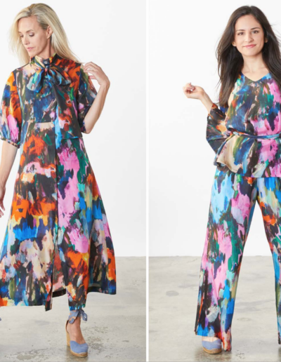 BrynWalker-SS22 - dress and printed Pant suit